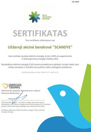 SCANDYE-sertifikatas